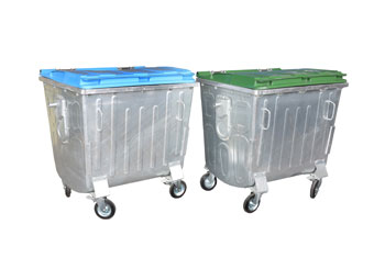 Flat Lidded Metallic Refuse Containers